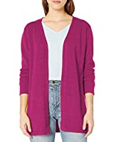QUALFORT Women's Pink Cardigan Open Front Long Sleeve Lightweight Cardigan Sweater Hot Pink Large