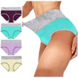 Youmymine 4 Pack Women's Cotton Stretch Underwear Comfy Mid Waisted Briefs Ladies Patchwork Breathable Panties (Multicolor -B, XL)