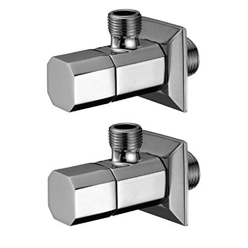 HAC24 2er Set Design Messing Eckventil Chrom 1/2 x 3/8 Zoll inkl. Eckige Rosette Eckregulierventil Ventil Bad Küche Regulierventil