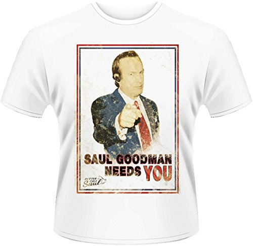 Plastic Head Better Call Saul Needs You T-Shirt, Blanc, (Taille Fabricant: X-Large) Homme