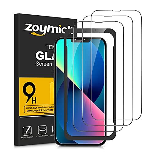 zoymick Protector Pantalla Compatible con iPhone 13/iPhone 13 Pro, [3 Pack] [Cobertura Completa] [Marco Instalación Fácil] [Sin Burbujas] 9H Dureza Cristal Templado iPhone 13/13 Pro -6.1''