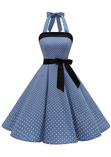 Timormode – Vestido de cóctel sexy, retro, vintage, para mujer, diseño de los años 40, 50 y 60, estilo Rockabilly, con escote B- Bleu Clair Blanc S M