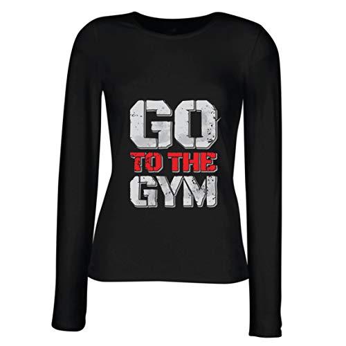 lepni.me Camisetas de Manga Larga para Mujer IR al Gimnasio Equipo de Entrenamiento de Fitness Motivacional (Medium Negro Multicolor)