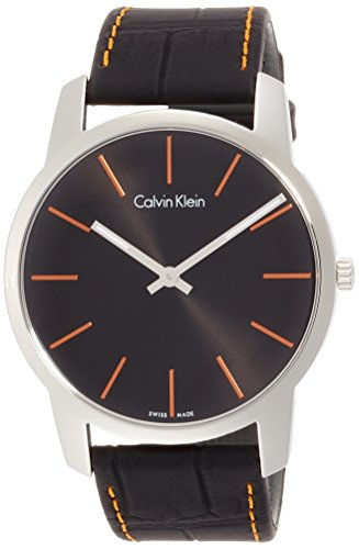 Calvin Klein Herren Analog Quarz Uhr mit Leder Armband K2G211C1