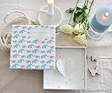 Deingastgeschenk Geldgeschenk zur Taufe oder Geburt -Happy Elephants (Blau) Geld Verpackung für Baby oder zum Geburtstag