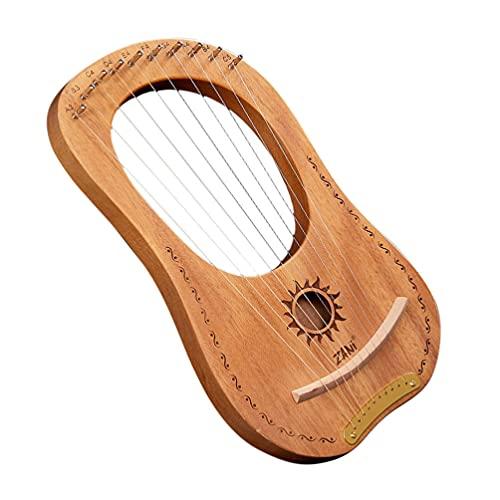 EXCEART Grécia Antiga Estilo Lira Harp 10 Cordas De Metal Cobre Sela Mogno Lira Harp Madeira Instrumento de Cordas