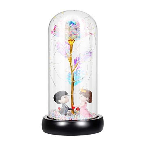 OSALADI Rosa de galaxia para regalo de flores artificiales coloridas en cúpula de cristal con luces LED para el día de San Valentín, Día de la Madre, aniversario de boda