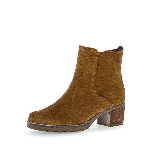 Gabor Damen Stiefeletten, Frauen Ankle Boots,Comfort-Mehrweite,Reißverschluss,Übergrößen, Booties halbstiefel,Cognac (Flausch),40 EU / 6.5 UK