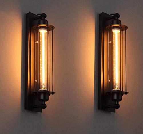 FLTRADE 8W LED Wandlampen Innen Drahtkäfig Edison Vintage Retro Metall Cafés Antike Wandleuchter Tube-Käfig Loft Beleuchtung warmweiß