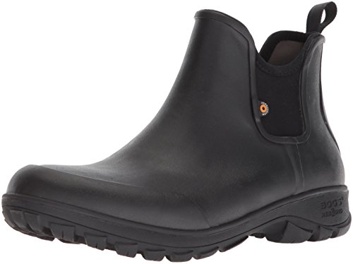 Bogs Men's Sauvie Slip On Low Height Chukka Waterproof Rain Boot, Black, 10 M US