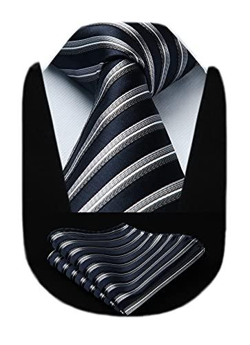 HISDERN Extra lange gestreifte Krawatte Taschentuch Herren Krawatte & Einstecktuch Set (Marineblau & Grau)