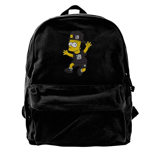 BAODANLE Girlâ€s Cool Sim_psons Black Background Leisure Cotton Canvas Backpack for Mountain Climbing