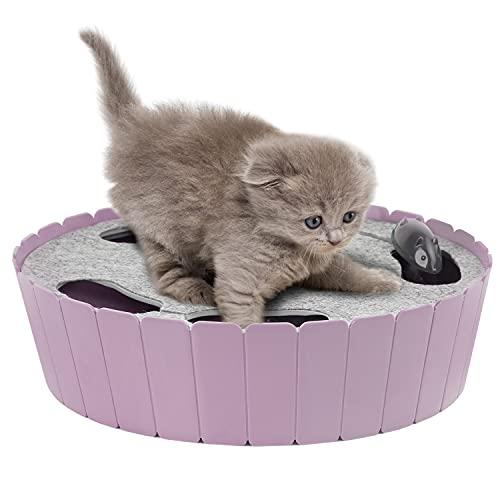 Pawaboo Juguete Escondido Electrónico para Gato, Imita la Escena Real del Gatito y el Ratón con Interruptor de Control, Herramienta de Entrenamiento para Gatito - Taro Morado