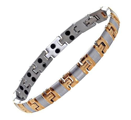 Titanium Magnetic Bracelet Double Strength - Natural Pain Relief Therapy (Silver & Gold)