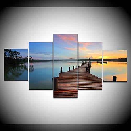 DAIZHJ 5 Panel/stukken HD Print Zonsopgang blauwe zee hout brug Landschap Print Op Canvas Art Schilderij Voor woonkamerdecoratie