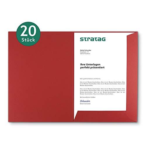 Präsentationsmappe A4 in Rubinrot 20 Stück (wählbar) - erhältlich in 7 Farben - direkt vom Hersteller STRATAG - vielseitig einsetzbar für Ihre Angebote, Exposés, Projekte oder Geschäftsberichte