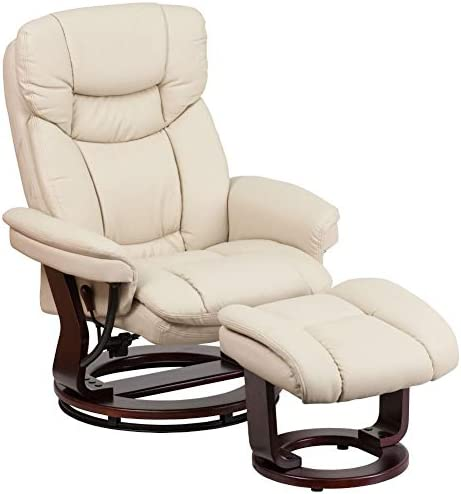 Best Flash Furniture Recliner Chair with Ottoman | Beige LeatherSoft Swivel Recliner Chair with Ottoman F