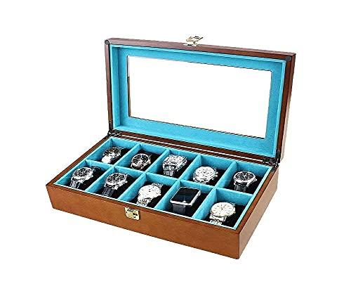Enrollador automático de relojes, caja de madera 10 rejillas cajas de almacenamiento de cajas Bandeja de exhibición de pulsera con cerradura y tapa de vidrio Madera de pino 37 * 22 * 9 cm Happy Life