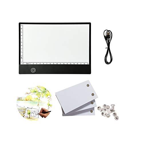 Flip Book Kit: 270 Blatt Animationspapier mit abnehmbaren Schrauben & LED-Lichtbox zum Nachzeichnen und Zeichnen, USB-betriebenes A5 Lightbox mit stufenlosem Dimmen und Lineal