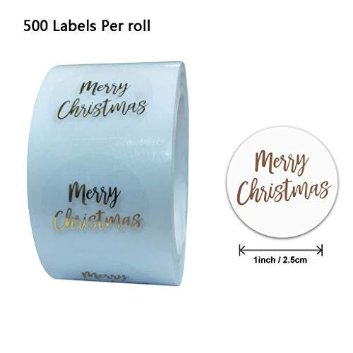 BANAN 500 Stück/Rolle runde transparente Goldfolie Frohe Weihnachten Aufkleber Siegeletikett für Briefmarken Briefumschläge Karten Einladungen Geschenkpakete Scrapbooking Dekoration