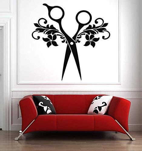 Hari Salon Wandaufkleber Werkzeuge Schere Kunst Vinyl Aufkleber Beauty Salon Wanddekor Aufkleber Muster Abnehmbar Wasserdicht 42X42Cm