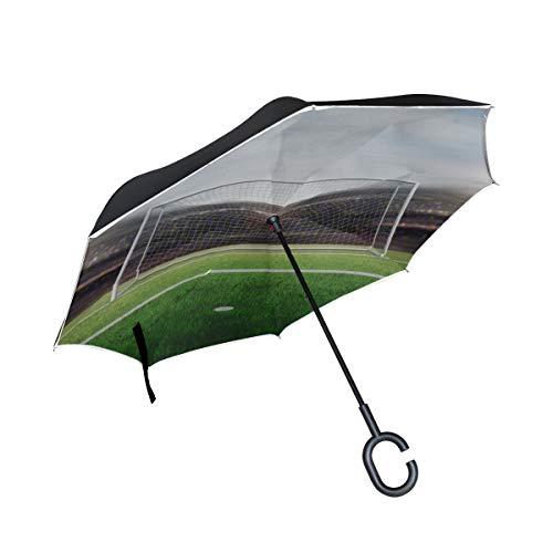 Paraguas invertido de Doble Capa de Viaje invertido Campo de fútbol Campo...