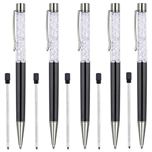 Ballpoint Pens, 5 PCS Bling Crystal Diamond Ball Pen Refillable Black Ink Pens for School Office Supplies