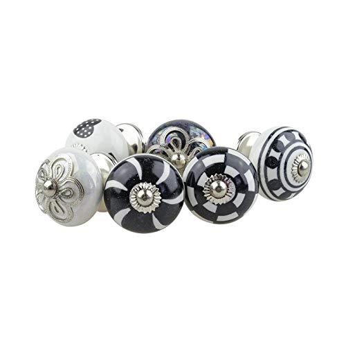 Pomelli in ceramica assortiti set 6pcs 084GN cuore bianco grigio argento – dipinto a mano porcellana cassetto tira maniglie armadio - Jay Knopf