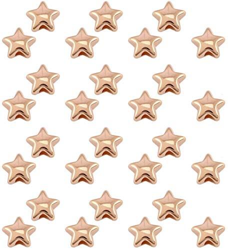 Sadingo Metallperlen Rosegold Sterne (28 Stück 6mm) Perlen Set Erwachsene, Armband Perlen für DIY Schmuck Stern Armband