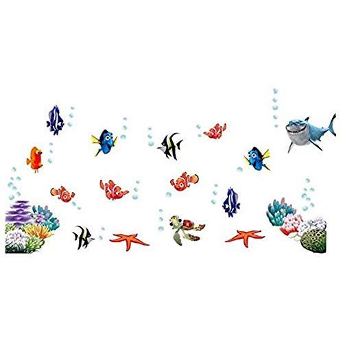 Winhappyhome Mondi Undersea Fai da Te per Bambini Pesci Wall Stickers per Camera da Letto Bagno Fondale Decor Rimovibile Decalcomanie (Piccolo)