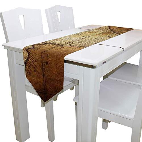 N/A eettafel loper of dressoir sjaal, oud kompas op vintage kaart dek tafelkleed loper koffie mat voor bruiloft partij banket decoratie 13x90IN