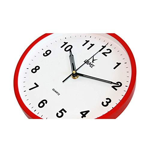 CAMY Wall Clock, 9 Inch Silent Non Ticking - Quartz Battery Operated Round Easy to Read Home/Office/Kitchen/School Clock (Red)