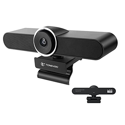 1080P Webcam with Speaker and Microphone, Conference Room Camera with 2 Built-in Microphone and 1 Speaker for Desktop Computer, Tongveo Web Camera Conference Room