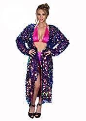 Purple Mermaid Sequin Rave Long Sequin Duster