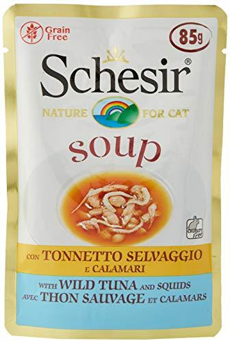 Schesir, Comida húmeda para Gatos Adultos, Sabor bacoreta Salvaje y camarones en filetes en Salsa - totale 1,7 kg (20 Sobres x 85 gr) ✅