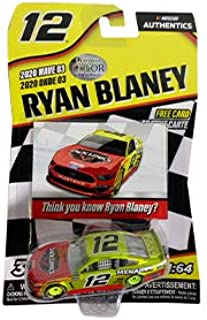 NASCAR Authentics Ryan Blaney #12 Diecast Car 1/64 Scale - 2020 Wave 3 with Free Card - Collectible