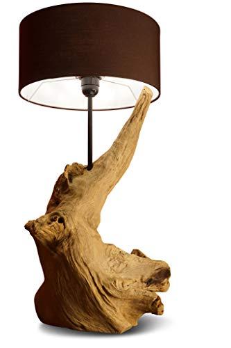 58 cm Treibholz Stehlampe/Tischlampe mit Lampenschirm aus Wurzelholz THANIN von Kinaree