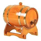 Generic Barril de Vino de Pino Vintage Dispensador Especial Cubo Barriles de Cerveza con Soporte para Tequila Bourbon Whisky Spirits Restaurante Decoración - 3L marrón Amarillento