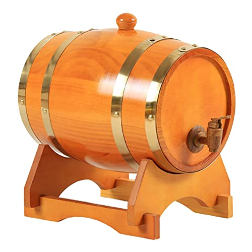 Generic Barril de Vino de Pino Vintage Dispensador Especial Cubo Barriles de Cerveza con Soporte para Tequila Bourbon Whisky Spirits Restaurante Decoración - 5L marrón Amarillento