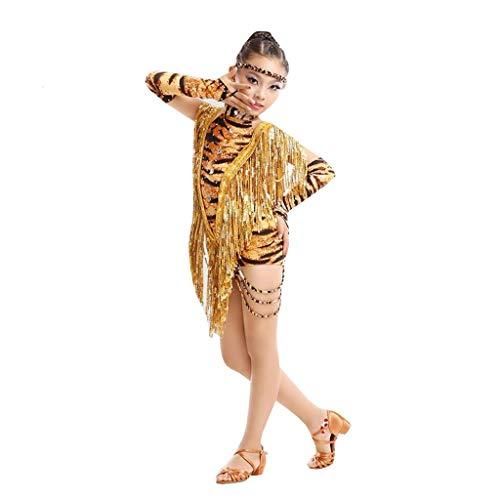 Jian E Kinder Latijnse Kostuums Luipaard-print Pailletten Kassen Siamese Kleding Heldere Diamant Dans Competitie Pak -