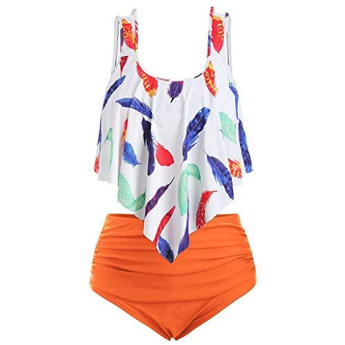KUDICO Bikini Damen Set Geteilter Badeanzug Rüschen Zweiteilige Bademode mit High Waist Bikinihose Retro Tankini Strandkleidung (Orange,XXL)