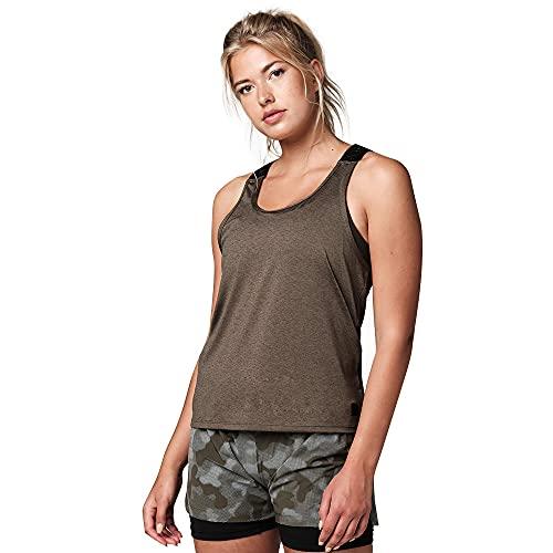Strong iD - Camiseta sin mangas para mujer, ajustada, para gimnasio, fitness, camiseta, Militar, Medium