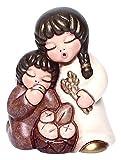THUN® - Coppia Bimbi con Pane - Versione Bianca - Statuine Presepe Classico - Ceramica - I Classici