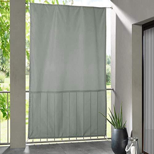 Clothink Seitlicher Balkonsichtschutz Wasserdicht Sonnenschutz Windschutz Sichtschutz Balkon Terrasse Grau L: 230 x B: 140 cm