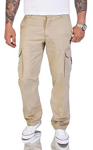 Rock Creek Herren Cargo Hose Chinohose Seitentaschen Outdoor Stoffhose Cargohose Chinos Outdoor Hosen für Männer Kargohosen H-194 Beige W36