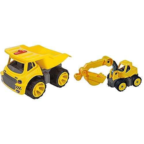 Big - Power-Worker Maxi Truck - Kinderfahrzeug, geeignet als Sandspielzeug und für das Kinderzimmer & Power-Worker Mini Bagger - Baggerfahrzeug geeignet als Sandspielzeug und für das Kinderzimmer
