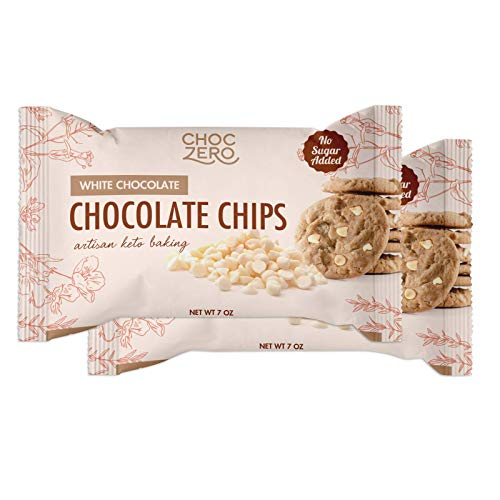 ChocZero's White Chocolate Chips - No Sugar Added, Low Carb, Keto Friendly, Gluten Free - Real Cocoa Butter, No Sugar Alcohols Sweetened with Monk Fruit (7oz 2-Pack)