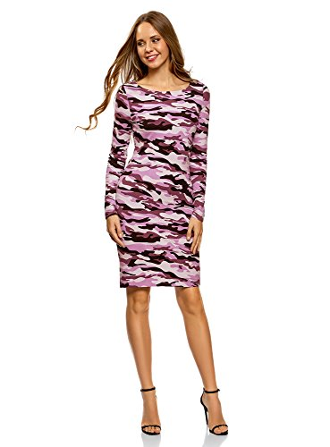 oodji Ultra Damen Enges Kleid mit Druck, Rosa, DE 36 / EU 38 / S