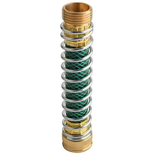 HYDRO MASTER Garden Hose Coiled Spring Protector,Solid Brass Connector,Garden Faucet Extension