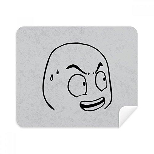 Koud zweet Verbaasd Zwart Emoji Telefoon Schermreiniger Bril Reinigingsdoek 2 stks Suede Stof